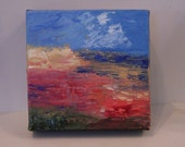 Landscape painted in oil in the impasto style