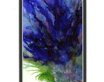 Alcohol ink art blue flower abstract double mat