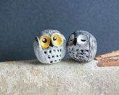 Clay Owls Set of Two -  Owl Cake Topper - Miniature Hand sculpted Clay Owls - MADE TO ORDER
