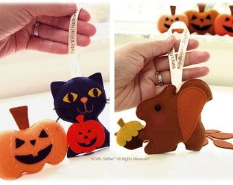 HALLOWEEN Cat and THANKSGIVING Squirrel, Personalized, Unique FAMILY Gift Keepsake, Baby's First Holidays, Trick or Treat, Stocking Stuffer