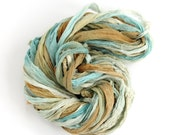 Recycled chiffon silk ribbon 10metres handdyed Sandy Toes, Perran Yarns aqua blue olive brown, textile arts