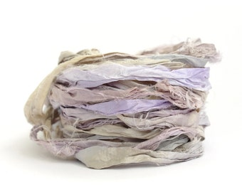 Handdyed recycled sari silk ribbon, 10metres Fairy Dust, lilac grey, lavender periwinkle, textile arts, uk seller