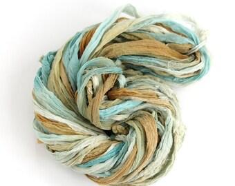 Recycled chiffon silk ribbon 10metres handdyed Sandy Toes, Perran Yarns aqua blue olive brown, textile arts