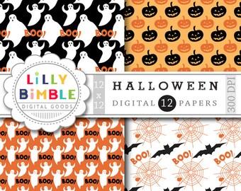 80% off Halloween Digital Paper with pumpkins, witches, spider webs, bats, scrapbook paper, INSTANT DOWNLOAD