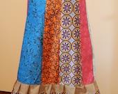 Colorful Medallions Tiered Skirt  Hippie Patchwork Skirt Mid Length Spinner skirt Festival skirt, hippie clothes