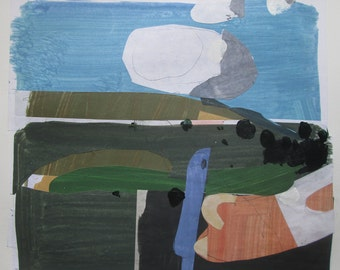 On Crocus Hill, Original Abstract Collage Painting on Paper, Stooshinoff