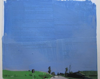 Evening on the Line, Original Spring Landscape Collage Painting on Paper, Stooshinoff