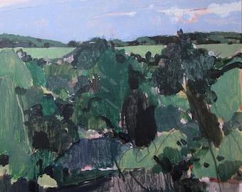 Prison Hill, Autumn Start, Original Plein Air Landscape Painting on Panel, Ready to Hang, Stooshinoff