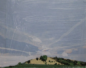 Wendy's Hill, Original Autumn Collage Landscape Painting on Panel, Stooshinoff