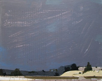 Little Hill, Original Winter Landscape Collage Painting on Cradled Panel, Ready to Hang, Stooshinoff