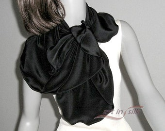 Black Silk Scarf, Natural Crepe Silk, Black Silk Wrap, Shoulder Scarf, Black Crepe Scarf, Artisan Handmade, Artinsilk Ready to Ship