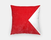 "Valentine Gift- Nautical Decor- Nautical Flag Pillow- 16"" x 16"" Throw Pillow- Maritime Alphabet Letter B Nautical Pillow- Decorative Pillows"