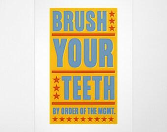 "Kids Bathroom Wall Art- Kids Wall Decor- Brush Your Teeth By Order of Management Print- 8"" x 14"" fits 11"" x 17"" frame w/o mat- Bathroom Art"