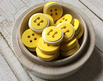 """Chunky Sunny Yellow Buttons, Bright Yellow with White Striped, Set of 12 Buttons, New Old Stock, 3/4"""" in Diameter, Vintage Seventies Buttons"""
