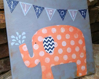 Navy Orange Grey Personalized Elephant Painting Whimsical & Unique OOAK Painting Folk Art Custom Girl Boy Nursery Children's Room Wall Art