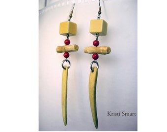 Bone and block long yellow statement  earrings