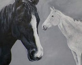 Horses Original Oil Painting Black Gray White Abstract Art by California Artist Debra Alouise