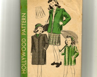 Hollywood Girl's Coat, Skirt or Raincoat  Pattern 1507