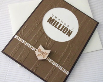 Thanks a million card handmade stamped ribbon-embellished masculine groomsmen wedding wood grain outdoors stationery greeting home living