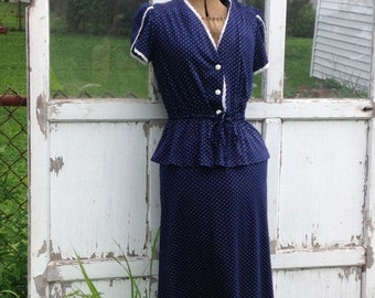 40% FLASH SALE- Navy Two Piece-Polka Dots-Size 13-Skirt and Top-Polyester
