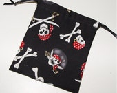 10 Party favor bags pirate birthday black & red 10 drawstring pouches skull and cross bones