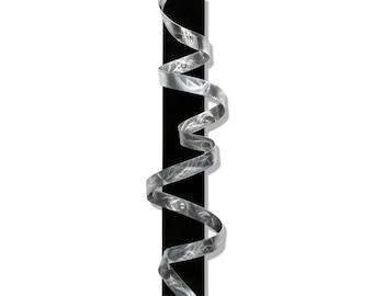 Silver Abstract Metal Wall Sculpture - Handmade Wall Twist Modern Art - Contemporary Home Decor Accent Ribbon - Black Knight by Jon Allen
