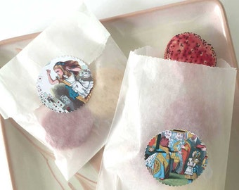 50 Alice in Wonderland Party Glassine Cookie Bags with Stickers Seals Labels   Treat Bags   Color Illustrations   DIY Goodie Favor Bags