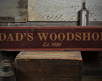 Dad's Woodshop Wood Sign, Personalized Established Date Year Gift, Custom Man Cave Decor - Rustic Hand Made Vintage Wooden Sign ENS1001590