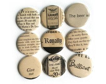 Random Vintage Ad Lines Button Drinks 1957 New Yorker Magazine party favors fridge magnets OOAK  #113
