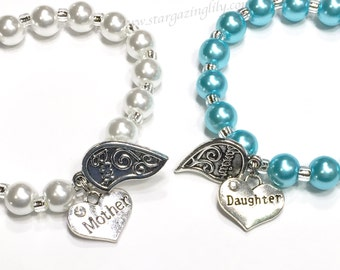 Mother Daughter Bracelet Set. Best Friend Charm Bracelet Set. Personalized Name Bracelet Mother's Day Gift Gift for Mom Mother Daughter Gift