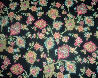 Quilt Fabric Destash Colorful Print on Black Marcus By the Half Yard