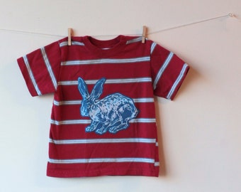 red striped bunny rabbit polo shirt 3T