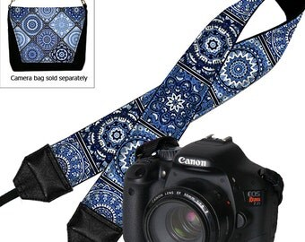 DSLR Camera Strap, Padded Camera Strap,  Nikon Camera Strap, Canon Camera Strap, SLR Neck Strap, blue and white porcelain MTO