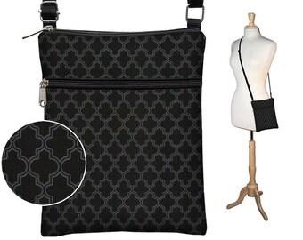 Black Sling Bag Shoulder Purse Small Cross Body Bag  Travel Purse Zipper Pocket  Fits eReaders  Quatrefoil Pattern Moroccan Tile  gray RTS