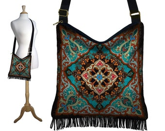 Bohemian Hippie Bag Hobo Purse Crossbody Bag Gyspy Bag Fringe Purse Handbag Kaleidoscope Mandala turquoise blue orange red RTS