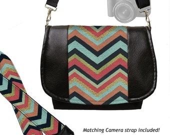 SET Vegan Black Leather DSLR Camera Bag and Camera Neck Strap, Colorful Chevron Tapestry,  blue red black yellow zipper pocket MTO