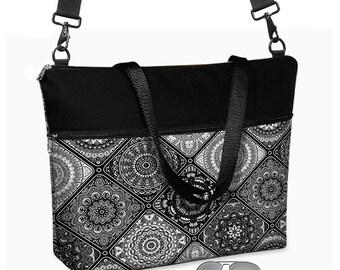 "17 inch Laptop Bag w/ strap for CrossBody Bag, Womens Laptop Tote Briefcase, 15.6"" Laptop Case,  Boho black white gray pockets zipper MTO"