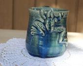 Frog mug / handmade pottery / stoneware coffee mug