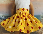 American Girl Doll Clothes Bright Yellow with Red Ladybugs Very Fully Gathered 50s Style Skirt with Waistband Medley NEW Style
