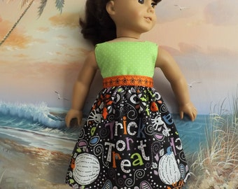 "Doll Dress Halloween Trick or Treat  Medley Fits 18"" Doll with Trick or Treat Bag"