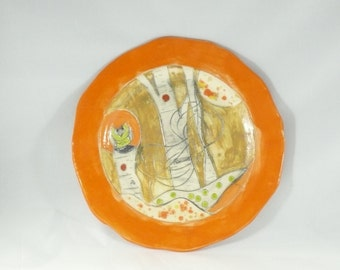 Tangerine Orange Dinner Plate - fiesta color ceramic plate, dinnerware set,  colorful plates, salad plate, cookie plate, sandwich plate 324