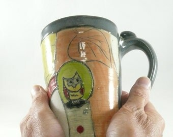 Extra Large  Pottery Mug, Red Ceramic Coffee cup  holds 20 ounces tea mug with owl / teacup / pottery mug/ ceramic cup/ ceramic mug 529
