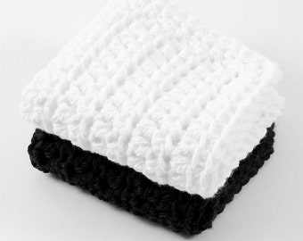 Crochet Cotton Dishcloths, Black Dishcloth, White Dishcloth, Cotton Dishcloth, Cleaning Cloth, Reusable, Ecofriendly