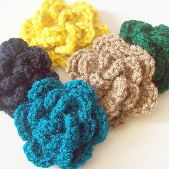 Layered Flower Crochet Applique, Black Yellow Hunter Green Taupe Teal Flower, Flower Embellishment, Crochet Flower Motif, Three Layer Flower