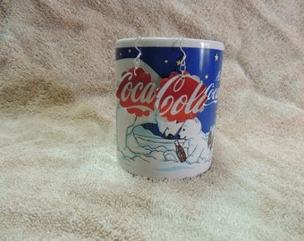 Earrings -- Coca Cola Recycled Upcycled Aluminum Can