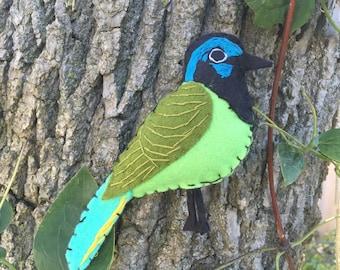 Green jay bird felt embroidered ornament / home decor