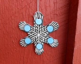 Modern Porcelain Snowflake Ornament
