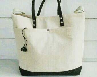 Canvas Leather Tote Bag/Weekender/Laptop Messenger Bag Vintage Wool Men's Tote Bag