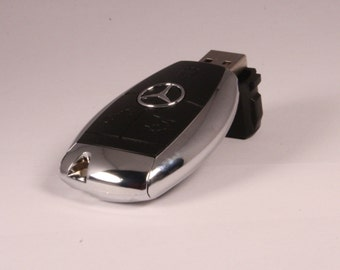 16GB Mercedes Benz USB Flash Drive in the style of a Car Key! CUSTOM Laser Engraving on back!