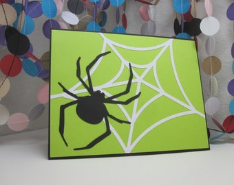 Spider Card - Halloween - green black white - black spider